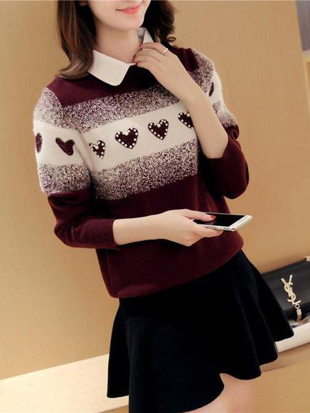 H-line Beaded Long Sleeve Casual Peter Pan Collar Sweater