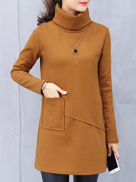 Turtle Neck Casual Solid Long Sleeve Tunic