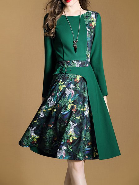 Green Elegant Floral Crew Neck Printed Dress