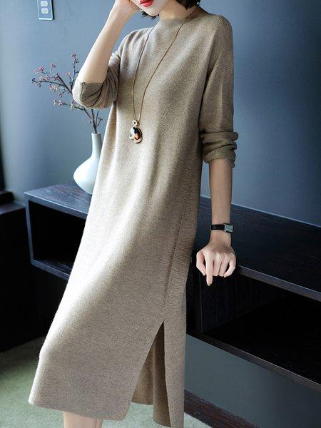 Women Casual Dress Bateau/boat neck Shift Long Sleeve Knitted Dress