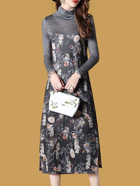 Floral Long Sleeve Sheath Printed Dress