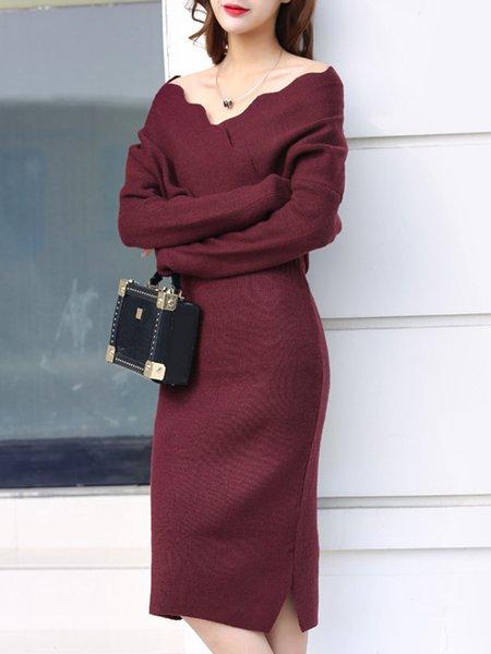 Knitted Surplice Neck Batwing Elegant Dress