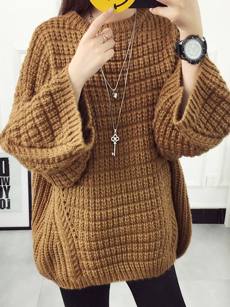 Solid Batwing Casual Knitted Sweater