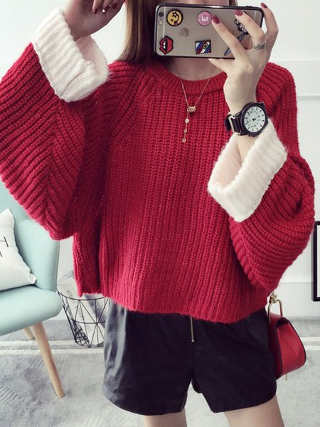 H-line Casual Knitted Long Sleeve Sweater