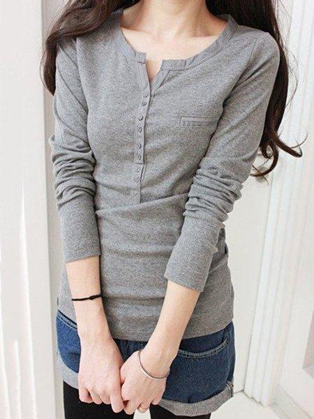 Gray Long Sleeve Plain Paneled T-Shirt