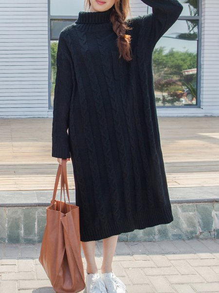 Pockets Long Sleeve H-line Casual Knitted Dress
