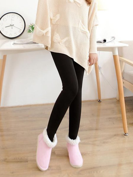 Black Solid Casual Fleece-lined Leggings