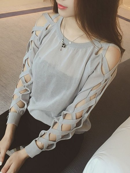 Casual Cutout Long Sleeve Solid Sweater
