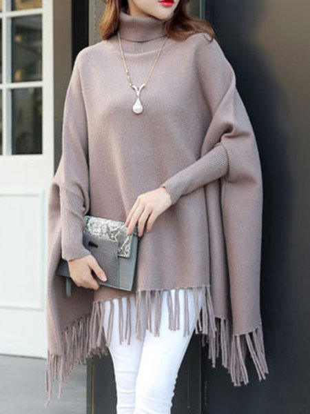 Batwing Asymmetrical Knitted Poncho