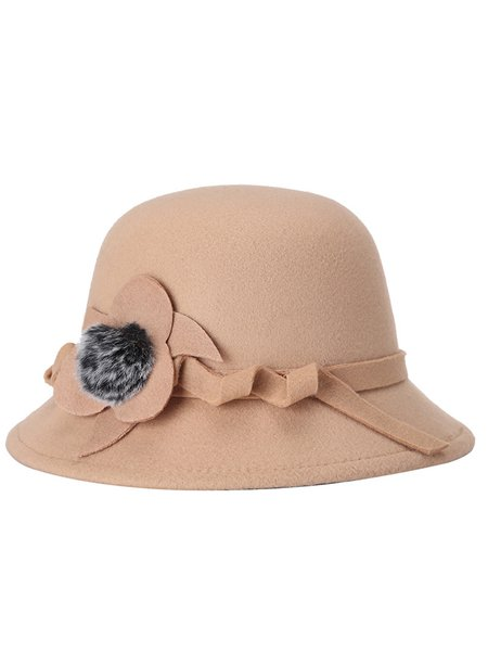 Appliqued Casual Wool Blend Solid Hat