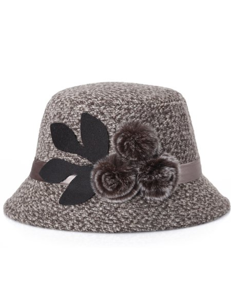 Ribbon Fuzzy Balls Casual Wool Blend Hat