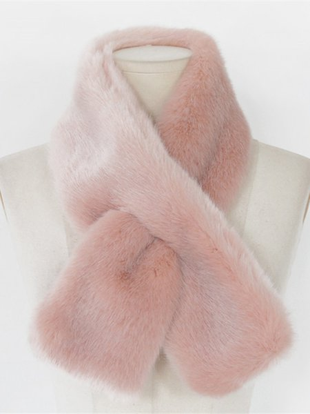 Solid Faux Fur Casual Scarf