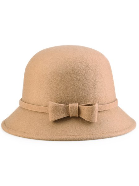 Solid Casual Wool Blend Bow Hat