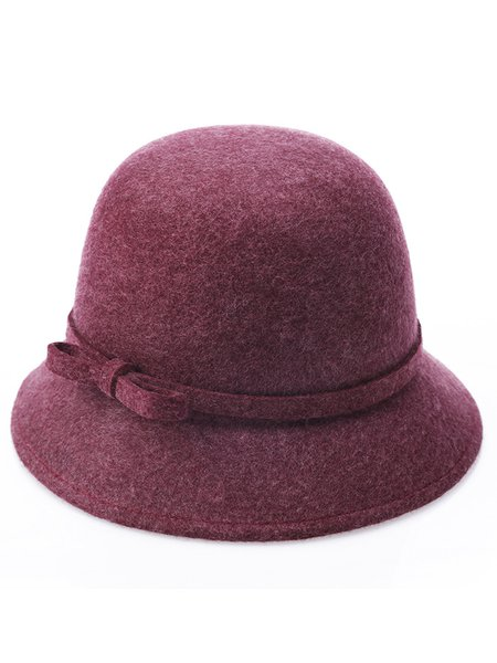 Bow Wool Blend Solid Bowler Hat