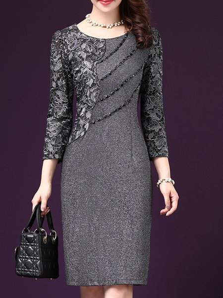 Long Sleeve Beaded Elegant Sheath  Dress