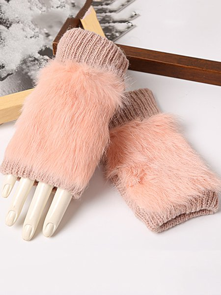 Knitted Fur Paneled Plain Casual Open-fingered Gloves