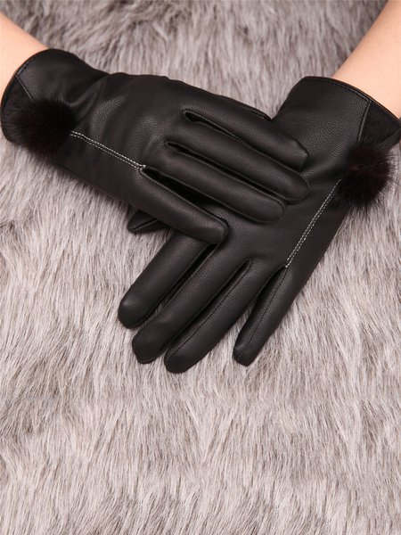 Black Casual Fleece-lined Solid Gloves