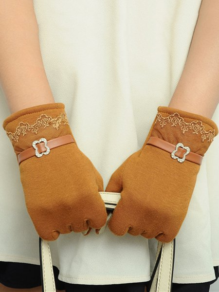 Lace Paneled Casual Fleece-lined Plain Gloves