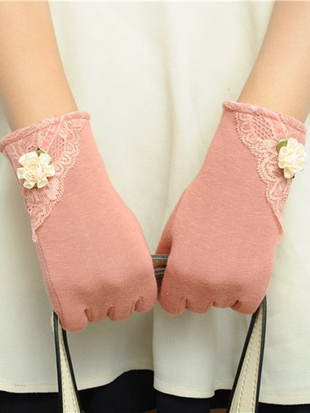 Fleece-lined Casual Plain Lace Paneled Flower Gloves