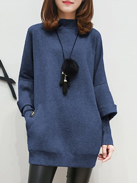 Casual Stand Collar Long Sleeve Plain  Dress