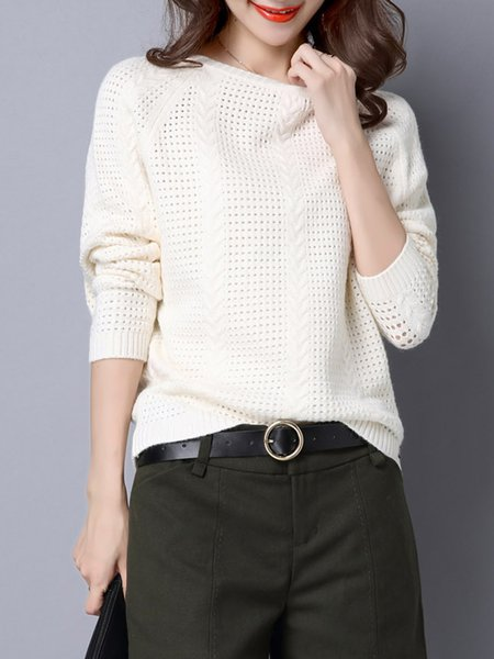 Knitted Crew Neck Batwing Eyelet Sweater