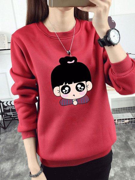 Cute Printed Crew Neck Sweatshirt