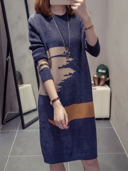 Knitted Abstract Long Sleeve Dress