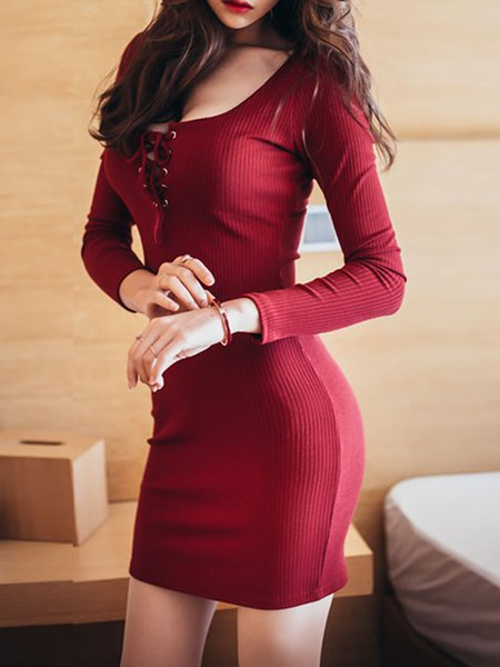 Lace Up Long Sleeve Solid Sexy Knitted Dress