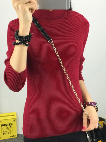 Burgundy Knitted Simple Sweater