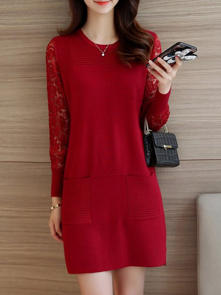 H-line Crew Neck Long Sleeve Lace Paneled Knitted Dress