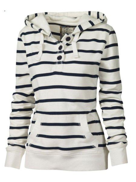 White Stripes Long Sleeve Pockets Hoodie