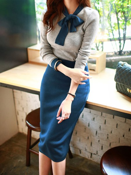 Tie-neck Knitted Elegant Two Pieces Sets