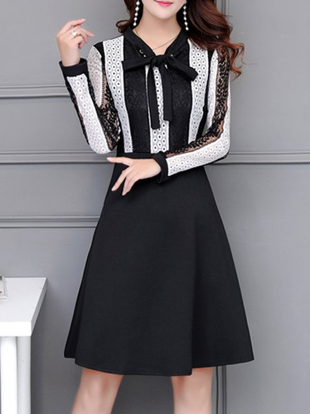 Lace Paneled Tie-neck Elegant  Dress