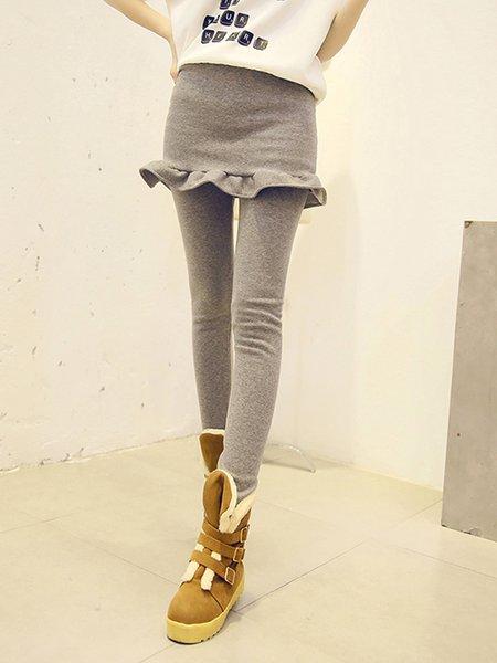 Paneled Ruffled Casual Leggings