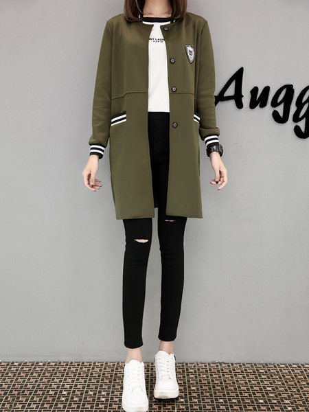 H-line Buttoned Long Sleeve Casual Coat