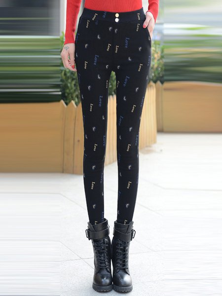 Fleece-lined Printed Letter Casual Pants