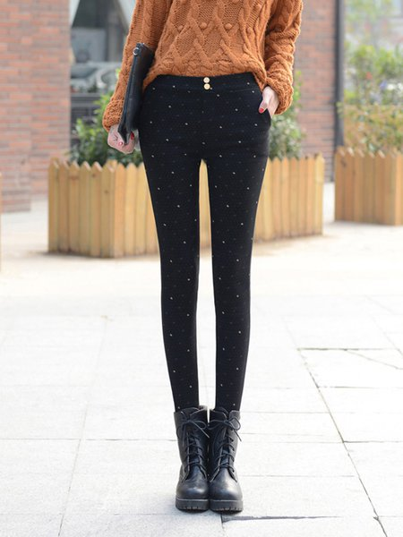 Casual Buttoned Fleece-lined Pants