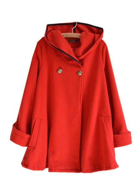 Long Sleeve A-line Buttoned Solid Coat