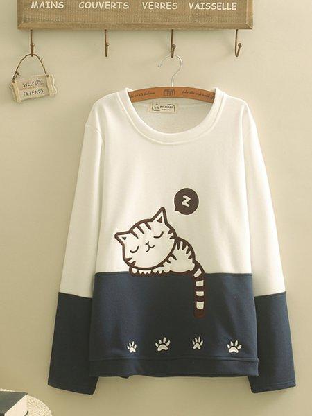 Crew Neck Cute Cat Embroidered Sweatshirt