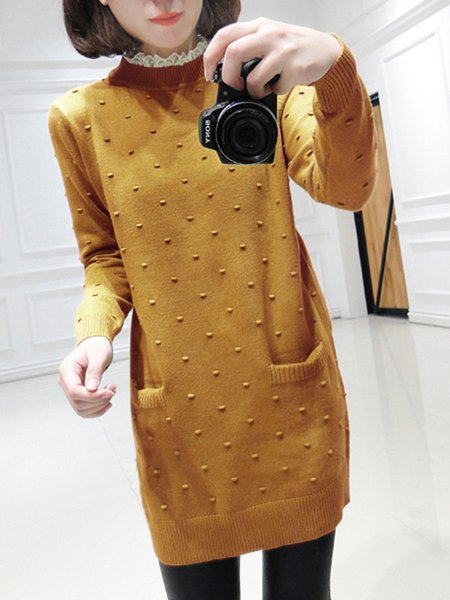 Knitted Paneled Long Sleeve Plain Sweater