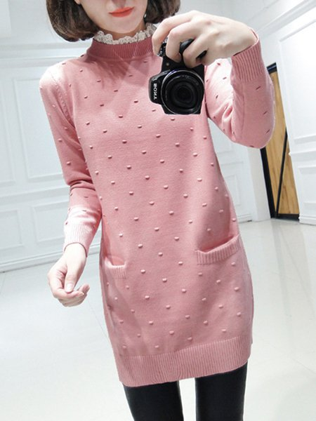Pockets Plain Knitted Casual Long Sleeve Sweater