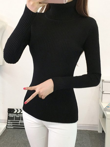 Ribbed Turtle Neck Knitted Long Sleeve Sweater