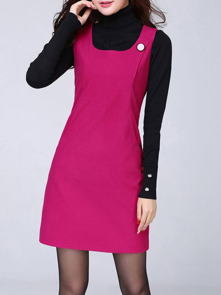 Square Neck Solid Buttoned Sleeveless Dress