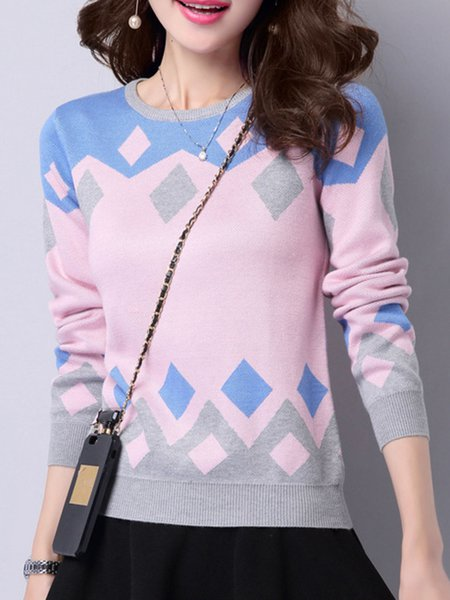 Color-block Knitted Crew Neck Long Sleeve Sweater