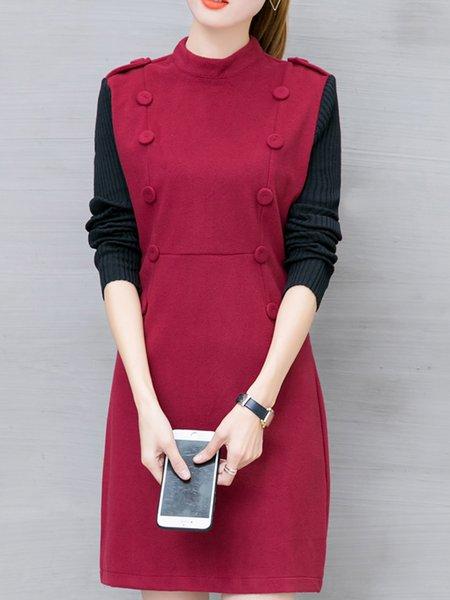 Burgundy Sheath Stand Collar Casual  Dress