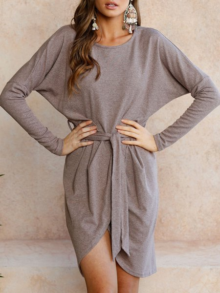Casual Batwing Asymmetrical Crew Neck Dress