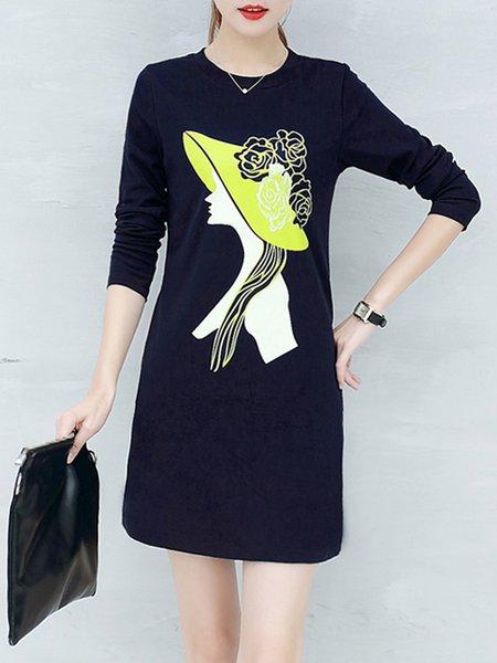 Long Sleeve Printed Sheath Dress