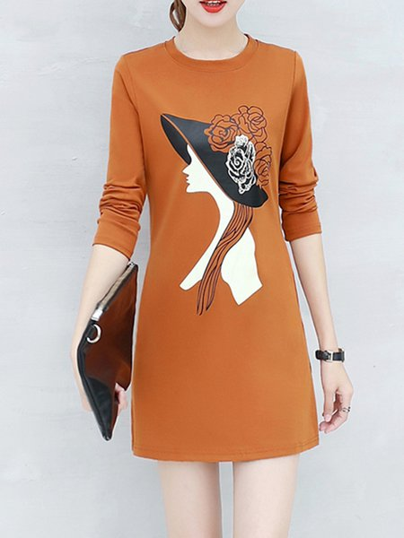 Camel Women Print Dress Crew Neck Sheath Daily Long Sleeve Casual Dress