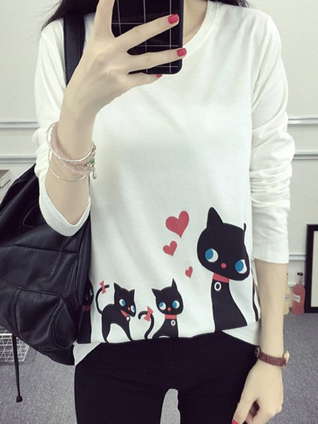 Long Sleeve Casual H-line Cat Print T-Shirt