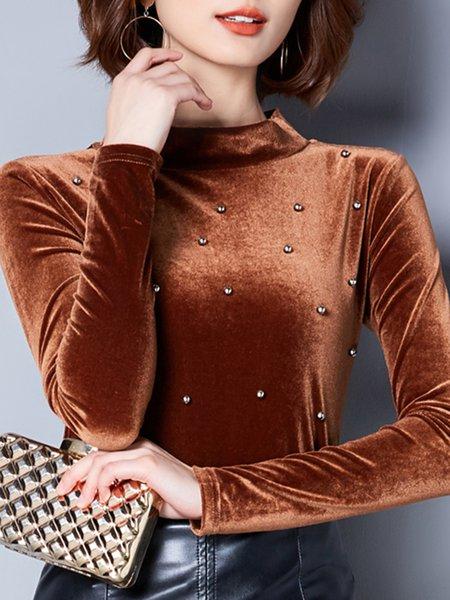 Stand Collar Beaded Long Sleeve Velvet Blouse
